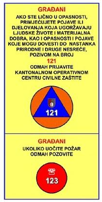 POZIVNI BROJ KANTONALNOG OPERATIVNOG CENTRA CIVILNE ZAŠTITE 121